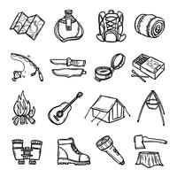 Camping noir blanc icônes définies
