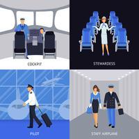Pilote et hôtesse de l'air 4 icônes plats vecteur