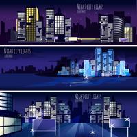 jeu de 3 bannières ville nocturne
