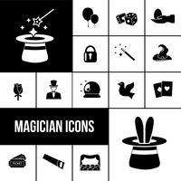 Ensemble d'icônes magicien noir vecteur