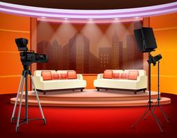 Talk Show Studio Intérieur vecteur