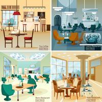 Place du restaurant 4 icônes plat