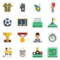jeu d'icônes plat de football vecteur