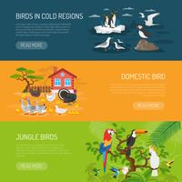Jeu de bannières horizontales pour oiseaux vecteur
