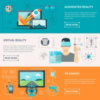 Bannières horizontales de réalité augmentée virtuelle vecteur