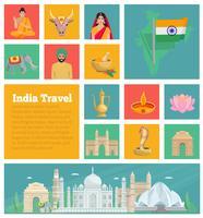 Inde plat icônes décoratives vecteur