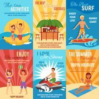 Ensemble d'affiches de plage vecteur