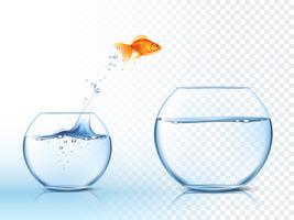 Goldish saute dans la bassine vecteur