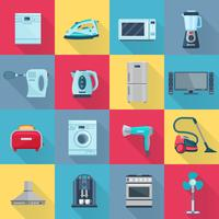 Icônes d'électroménagers de couleur plat