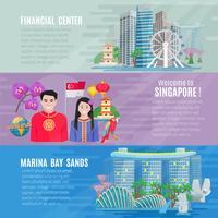 Jeu de 3 bannières horizontales Singapour Culture