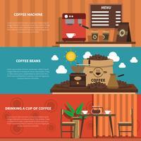 Coffee Bar 2 bannières horizontales plates vecteur