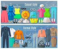 Bannières horizontales de la collection de vêtements femme formel et décontracté vecteur