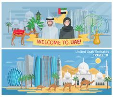 Bienvenue aux bannières des Emirats Arabes Unis vecteur