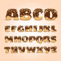 Jeu de lettres alphabet gaufrettes au chocolat givré vecteur