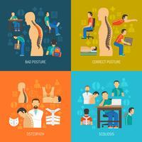 Posture 2x2 Design Concept Set vecteur