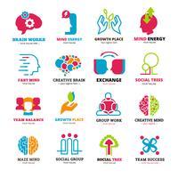 Relation sociale Logo Icons Set vecteur