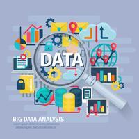 Affiche plate du concept d'analyse de données volumineuses