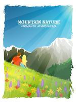 Affiche de fond romantique de nature de paysage de montagne vecteur