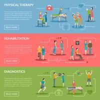 Bannières de rééducation en physiothérapie vecteur