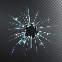Icône réaliste de verre brisé givré vecteur