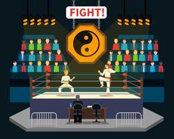Illustration de combat d'arts martiaux vecteur