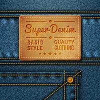 Jeans Etiquette Carrée En Cuir vecteur