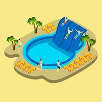 Parc aquatique et illustration de la natation