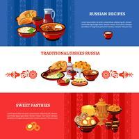 Jeu de bannières couleurs de drapeau de la cuisine russe vecteur