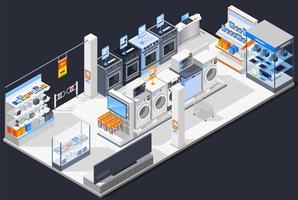 Composition isométrique de magasin électrique vecteur