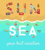 Affiche plate de vacances de plage d'été
