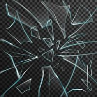 Éclats réalistes de verre cassé transparent