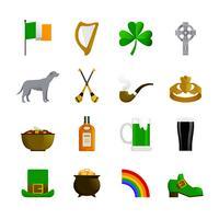 Irlande Flat Color Icons vecteur