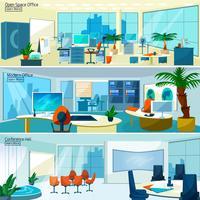 Bannières d'intérieurs de bureau modernes vecteur