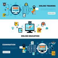 Collection de bannières d'éducation en ligne plate vecteur