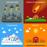 Bannière carrée de Concept de catastrophe 4 icônes plat