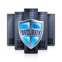 Illustration réaliste du bouclier de sécurité serveur en rack