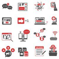 Ensemble d'icônes de réseau social rouge noir