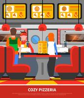 Illustration intérieure de la pizzeria vecteur