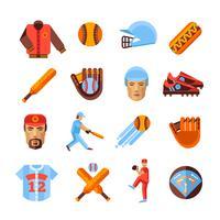 Ensemble d'icônes de baseball vecteur