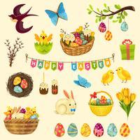 Jeu de symboles de Pâques vecteur