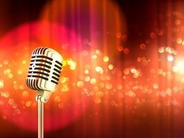 Affiche vintage de fond de microphone rétro