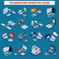 Icônes isométriques de télémédecine vecteur