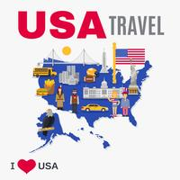 Affiche plate de culture de l'agence de voyages du monde des Etats-Unis