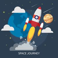 Space Journey Illustration conceptuelle Design vecteur