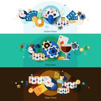 Ensemble de bannières de poker vecteur