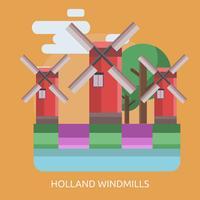 Holland Windmills Illustration conceptuelle Design vecteur