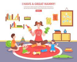 Illustration de concept de baby-sitter vecteur