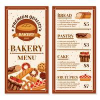 Conception de menus de boulangerie vecteur