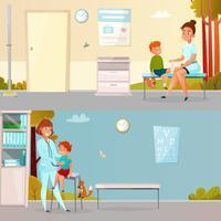 Kid visite médecin bannières de dessin animé