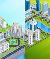 Bannières de ville isométrique vecteur